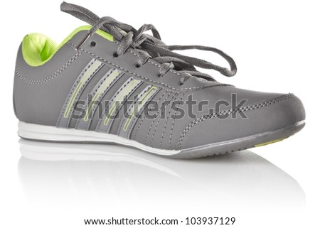 new grey sneaker isolated on white background - stock photo