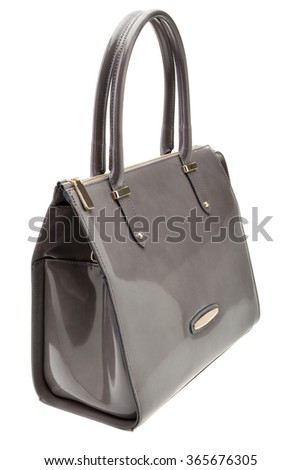 New grey womens bag isolated on white background.