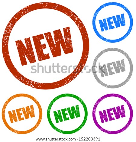 New grunge labels on a white background - stock photo