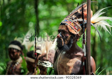 NEW GUINEA, INDONESIA - 2 FEBRUARY: The warrior of a Papuan tribe of Yafi in traditional clothes, ornaments and coloring. New Guinea Island, Indonesia. February 2, 2009. - stock photo