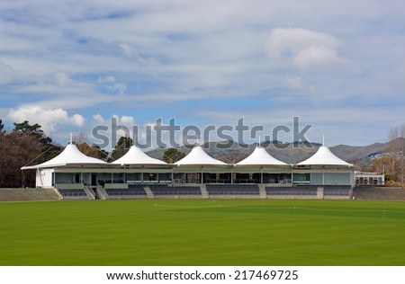 New Hagley Oval Cricket Pavilion Opened in Hagley Park 3 months before the 2015 Cricket World Cup starts in Christchurch.   - stock photo