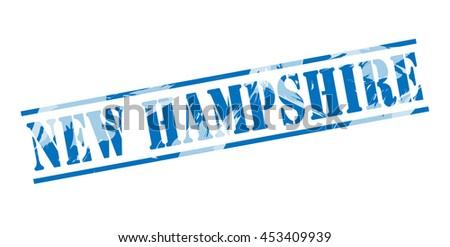 new hampshire blue stamp on white background - stock photo