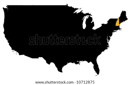 New Hampshire Usa Outline Map Shadow Stock Illustration - New hampshire map usa