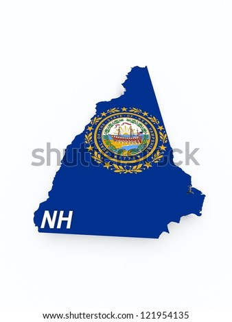 new hampshire state flag on 3d map - stock photo
