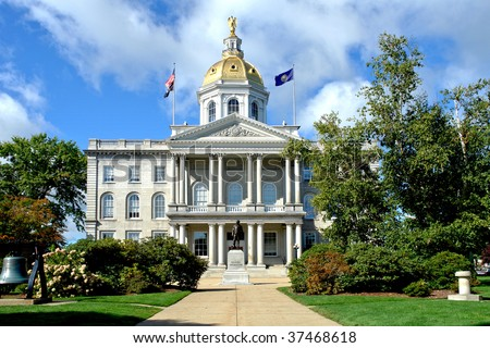 New Hampshire State House Capitol building and visitor center built in greek revival architectural style in the New England NH capital of Concord - stock photo