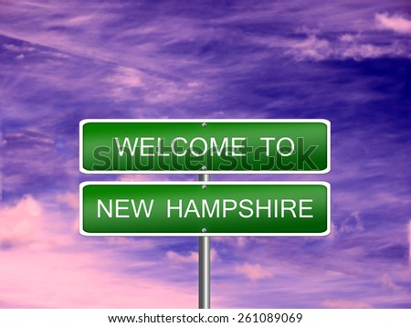 New Hampshire welcome US state vacation landscape USA sign travel. - stock photo