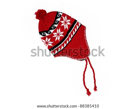 New Handmade Red knitted wool hat isolated on white background - stock photo