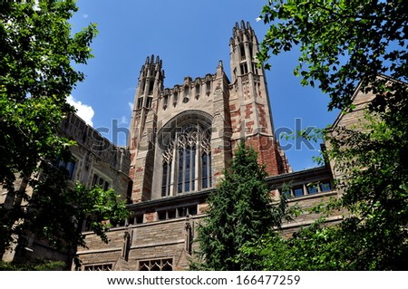 NEW HAVEN, CONNECTICUT:  The beautiful English gothic style Sterling Law School at Yale University - stock photo