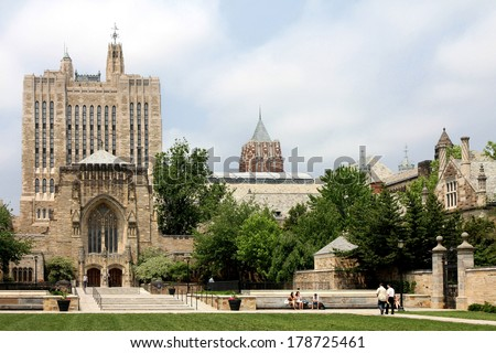 NEW HAVEN, CT, USA - CIRCA MAY 2011: View of the central campus of Yale University, one of the most elegant Ivy League schools, with the Sterling Library at the left side.