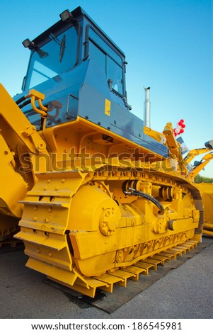 New heavy duty Caterpillar at the exhibition - stock photo