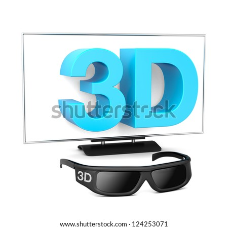 new high-definition Big Screen Television eyeglasses - stock photo