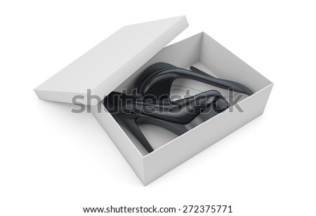 New high heels shoes in box isolated on white with clipping path - stock photo