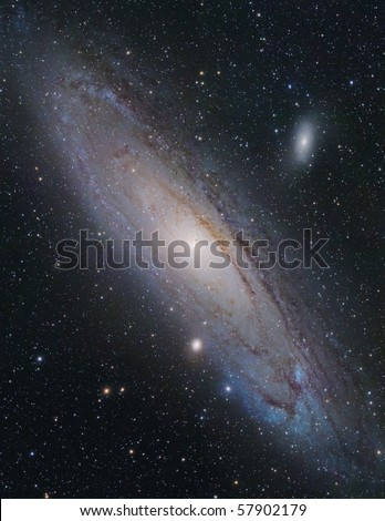 """New high-resolution mosaic. Real image of M31 """"Andromeda Galaxy"""" taken with my 10"""" astrograph telescope. This is 8-frame mosaic, 11 hours of exposition. - stock photo"""