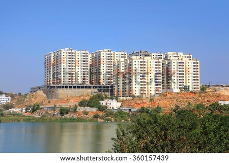 New high rise apartment building constructions in  India - stock photo