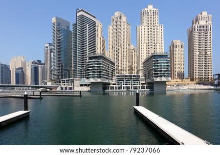 New highrise buildings at Dubai Marina, United Arab Emirates - stock photo