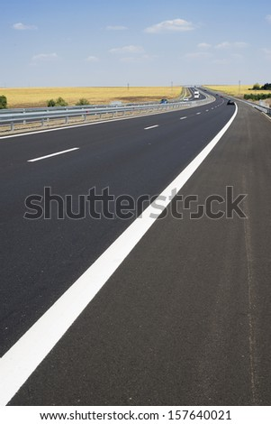 New Highway road. White line and blue sky