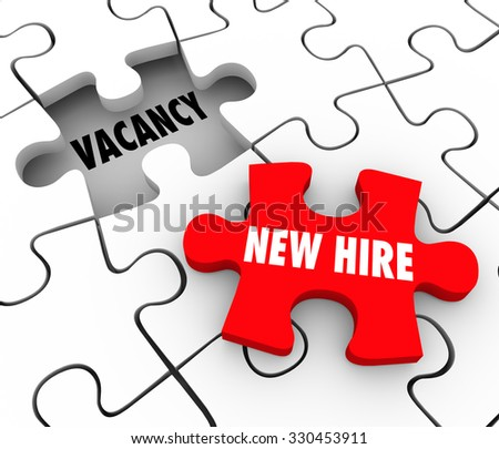 New Hire words on a red puzzle piece filling a hole or open position on your staff or workforce - stock photo