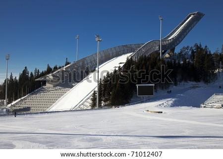 New Holmenkollen ski jump in Oslo Norway - stock photo
