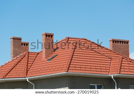new home and roof - stock photo