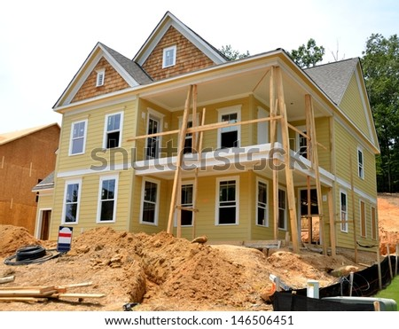 New home being constructed to sell at Georgia, USA. - stock photo