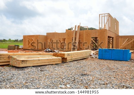 New home construction at Georgia, USA. - stock photo