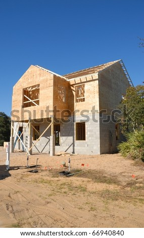 new home construction at st augustine beach florida - stock photo