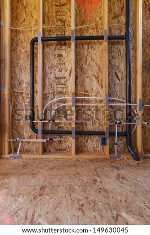 New Home Construction Pex Plumbing Pipes Stock Photo