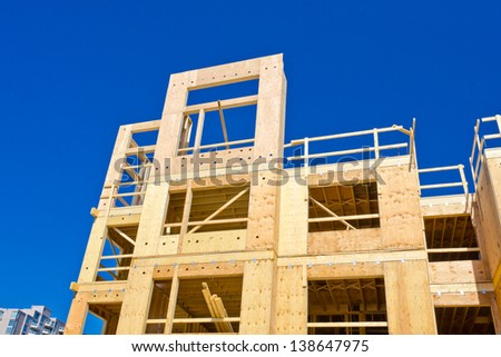 New home construction site, framing. - stock photo