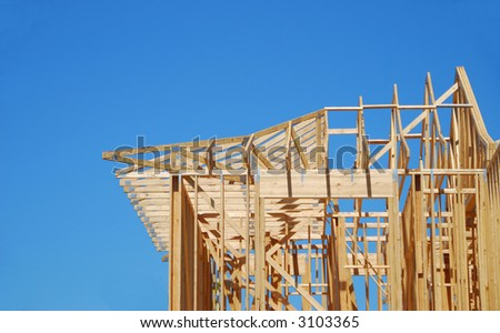 New Home Construction Under Blue Sky - stock photo