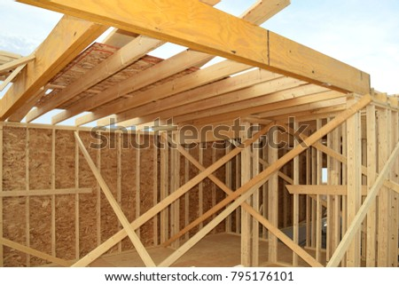 New Home House Construction Framing Lumber Stock Photo (100% Legal ...