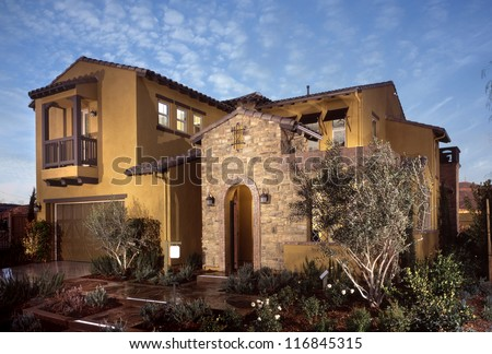New Home, House, Development in the United States. Residential housing track homes. - stock photo