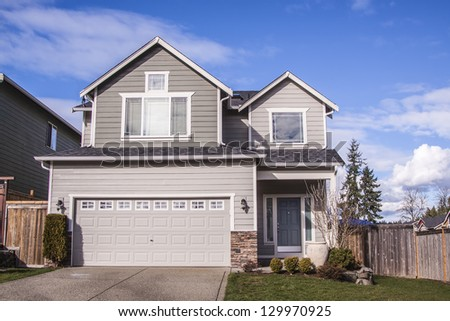 new home in the suburbs of the United States - stock photo