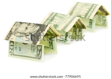 New home symbol made from dollar banknotes - stock photo