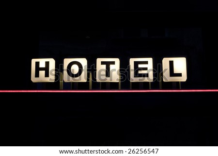 New Hotel sign - stock photo