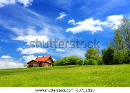 New house and mountain ecological environment - stock photo
