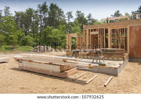 New house construction - stock photo