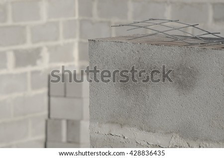 New house construction, building foundation walls using concrete blocks, copy space. new building - stock photo