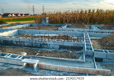 New house foundation construction - stock photo