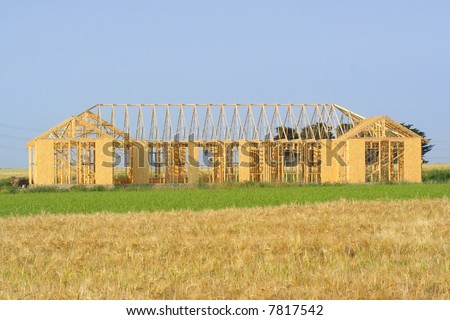 New house frame - stock photo