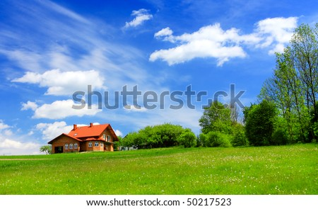 New house in spring - stock photo