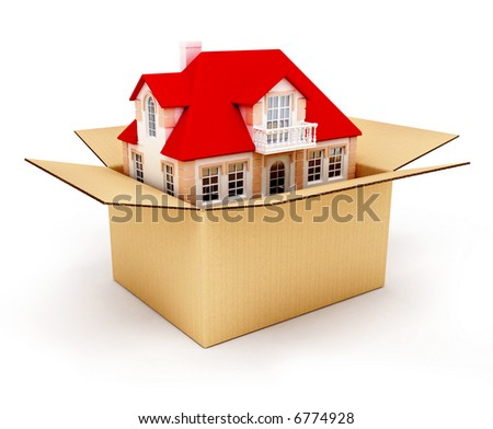 New house in the box real estate conceptual 3d illustration - stock photo