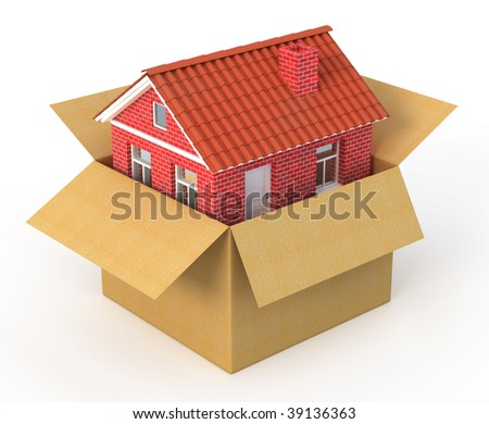 New house in the cardboard box - real estate concept - 3d render - stock photo