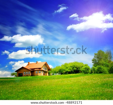 New house in the mountain - stock photo