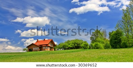 New house in wonderland, panorama - stock photo