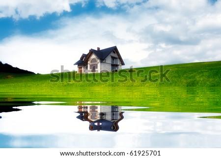 New house near the lake - stock photo