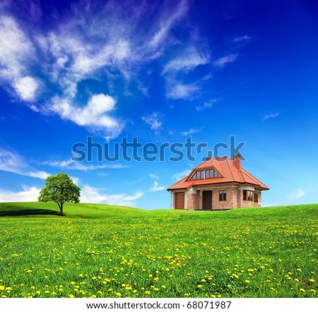 New house on grassland - stock photo