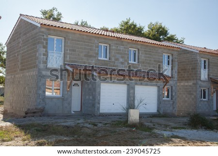 New house under construction - stock photo