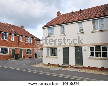 New Houses on a Typical London Residential Estate - stock photo