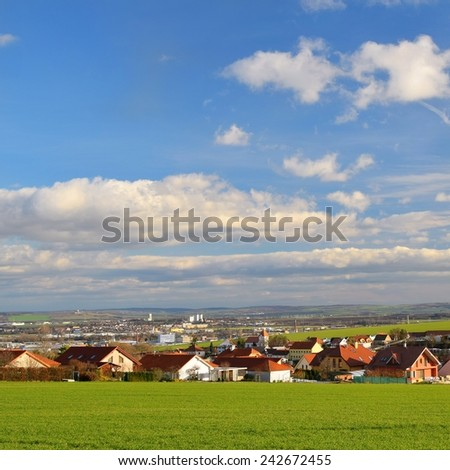 New houses on the edge of town. New housing in the countryside.  - stock photo