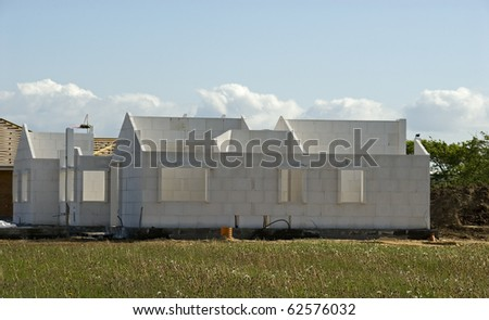 New houses under construction - stock photo